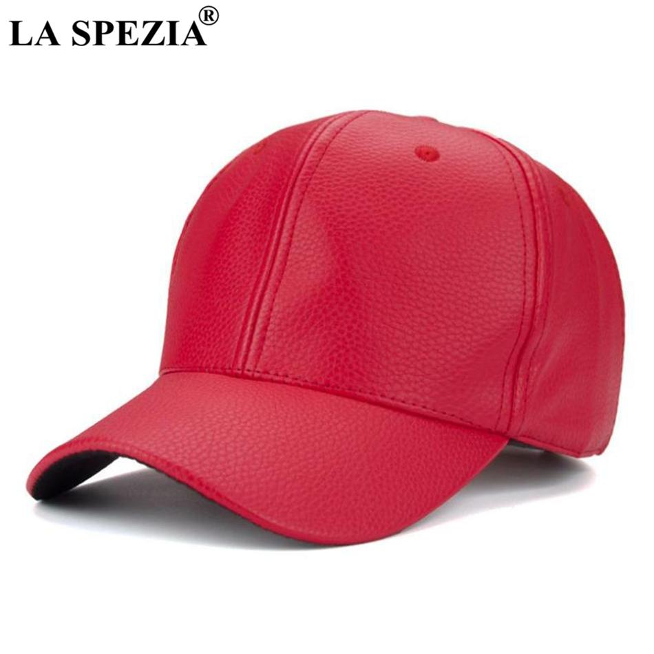 LA SPEZIA Red Baseball Cap For Women Casual Leather Baseball Caps Men  Adjustable Duckbill Hat Female Classic Autumn Peaked Caps Hats For Sale  Neweracap From ... 3187635acdc