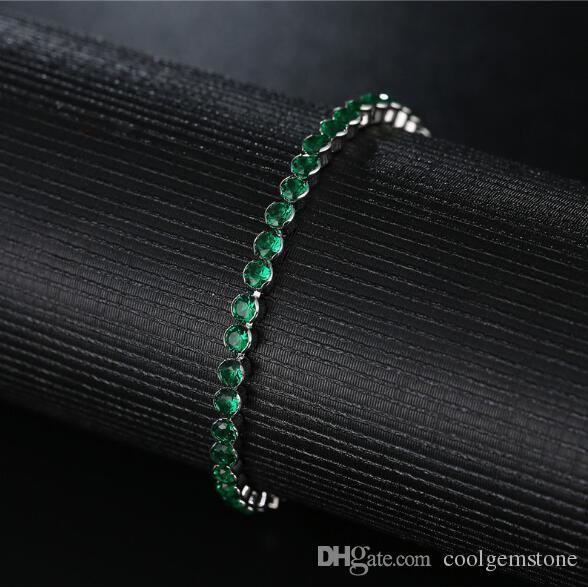 Ultimo stile Moda Fire Fire Verde Quartz Pink Topazio Citrina Bianco Cubic Zirconia Gemstone Rosa oro argento placcato catena braccialetti