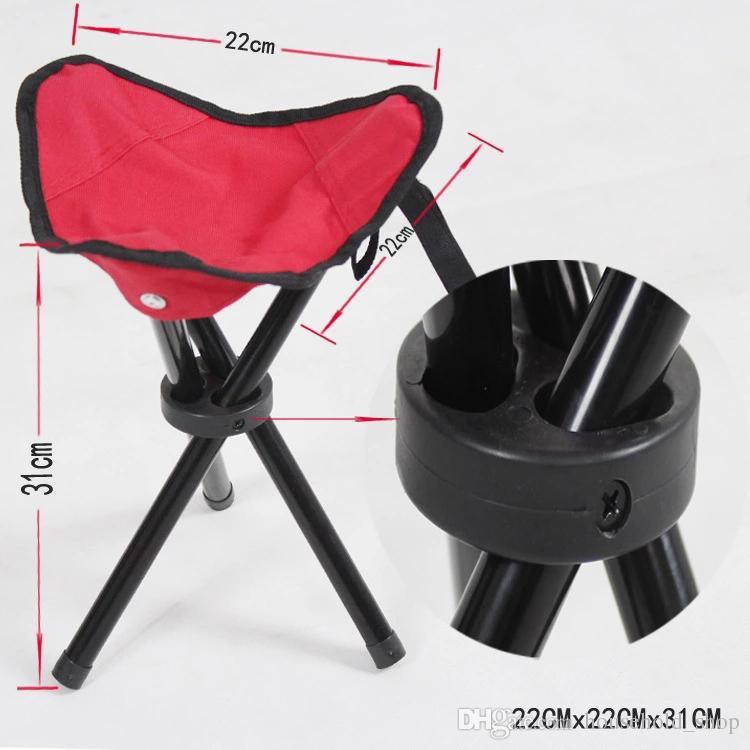 2018 Camping En Plein Air Pêche Plage Barbecue Tabouret Triangulation Chaise Pliante 3 Couleurs Portable Tabouret Lumineux Nouvelle Arrivée