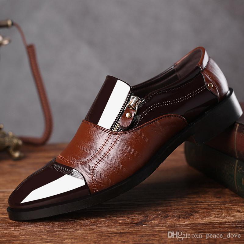 3599722223 Compre Hombre Oxford Zapatos Para Hombre Mocasines Para Hombre Punta  Estrecha Zapatos De Vestir Hombre Zapatos Cuero Marrón Hombres Formal  Charol Sapato ...