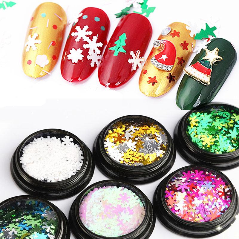 6 Box Set Christmas Snowflakes Glitter Flakes Decals Manicure