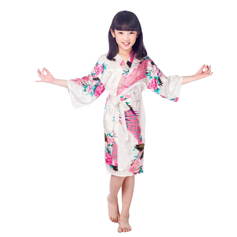 4a26112dac 2019 New Peacock Kids Robe Satin Children Kimono Robes Bridesmaid Flower  Girl Dress Silk Children S Bathrobe Nightgown Robe Size 2 14 From  Wochanmei