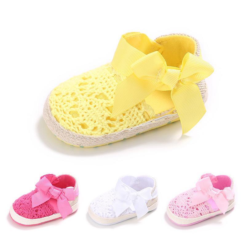 042a24c1d53 Compre Precioso Infantil Niño Princesa Primeros Caminantes Bebé Recién  Nacido Niñas Niños Prewalker Suela Blanda Zapato Vestido De Arco Zapatos De  Tejer ...