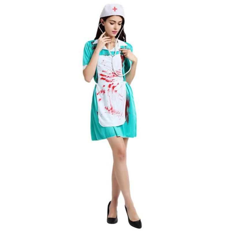 7da965371fbd7 Umorden Carnival Party Halloween Bloody Nurse Costumes Women Adult Scary  Female Doctor Zombie Costume Cosplay Dress Groups Of 5 Halloween Costumes  Costumes ...