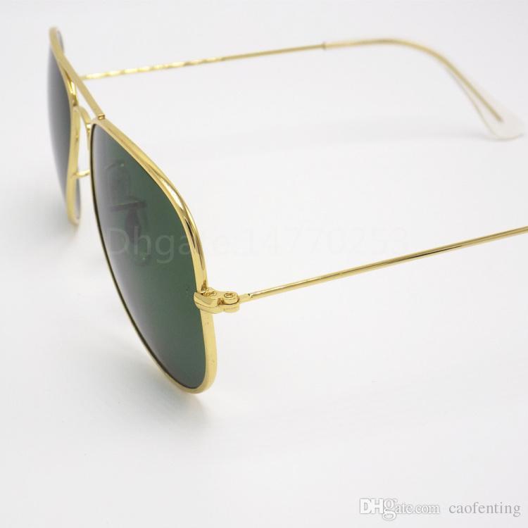 Erkekler Kadınlar Için yeni Varış Tasarımcı Pilot Güneş Gözlüğü Outdoorsman Güneş Gözlükleri Gözlük Altın Kahverengi Daha Iyi Durumda Ile 58mm Cam Lensler