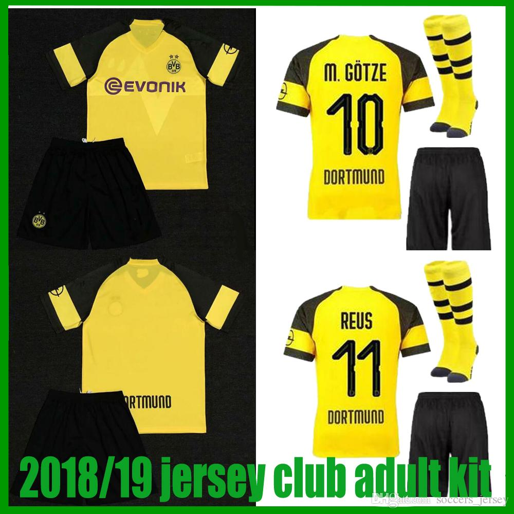 super popular 21385 8cee0 Borussia Dortmund soccer jersey 2018 19 MAILLOT DE FOOalit REUS PULISIC  2018/19 Dortmund home football shirts adult kit Maillots de football