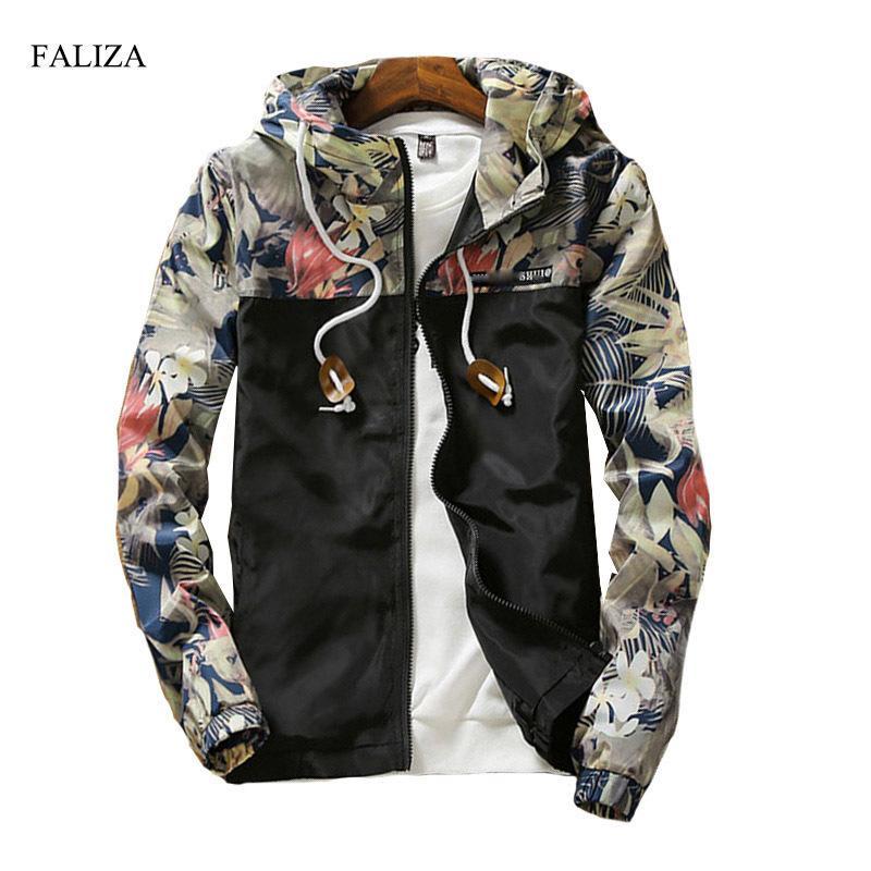 5d1b0d665c4 FALIZA New 2018 Floral Bomber Jacket Men Hip Hop Flowers Designs Slim Fit  Pilot Bomber Jacket Coat Men S Hooded Jackets 5XL JK I Y1892505 Nice Jackets  ...