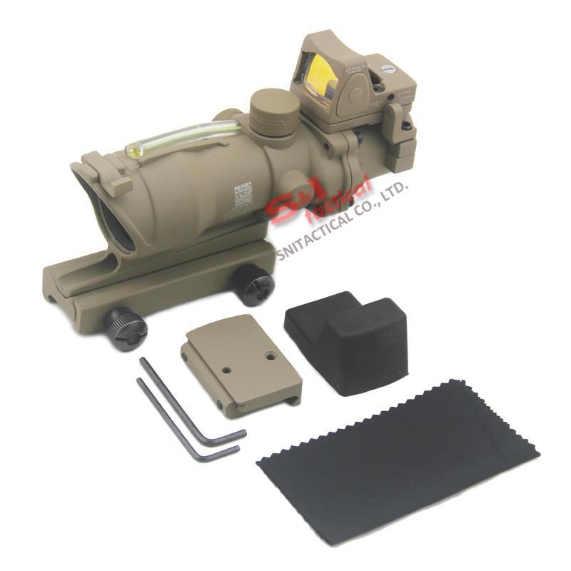 Tactical Trijicon ACOG 4x32 Fiber Source Green Optical Fiber Riflescope With RMR Micro Red Dot Sight Marked Version Black/Dark Earth