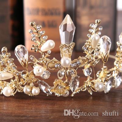 Chapeaux 2018 Nouvelle Couronne Baroque Tiare Mariée Cristal Couronne Princesse Couronne Or Argent Accessoires De Cheveux De Mariage Anniversaire