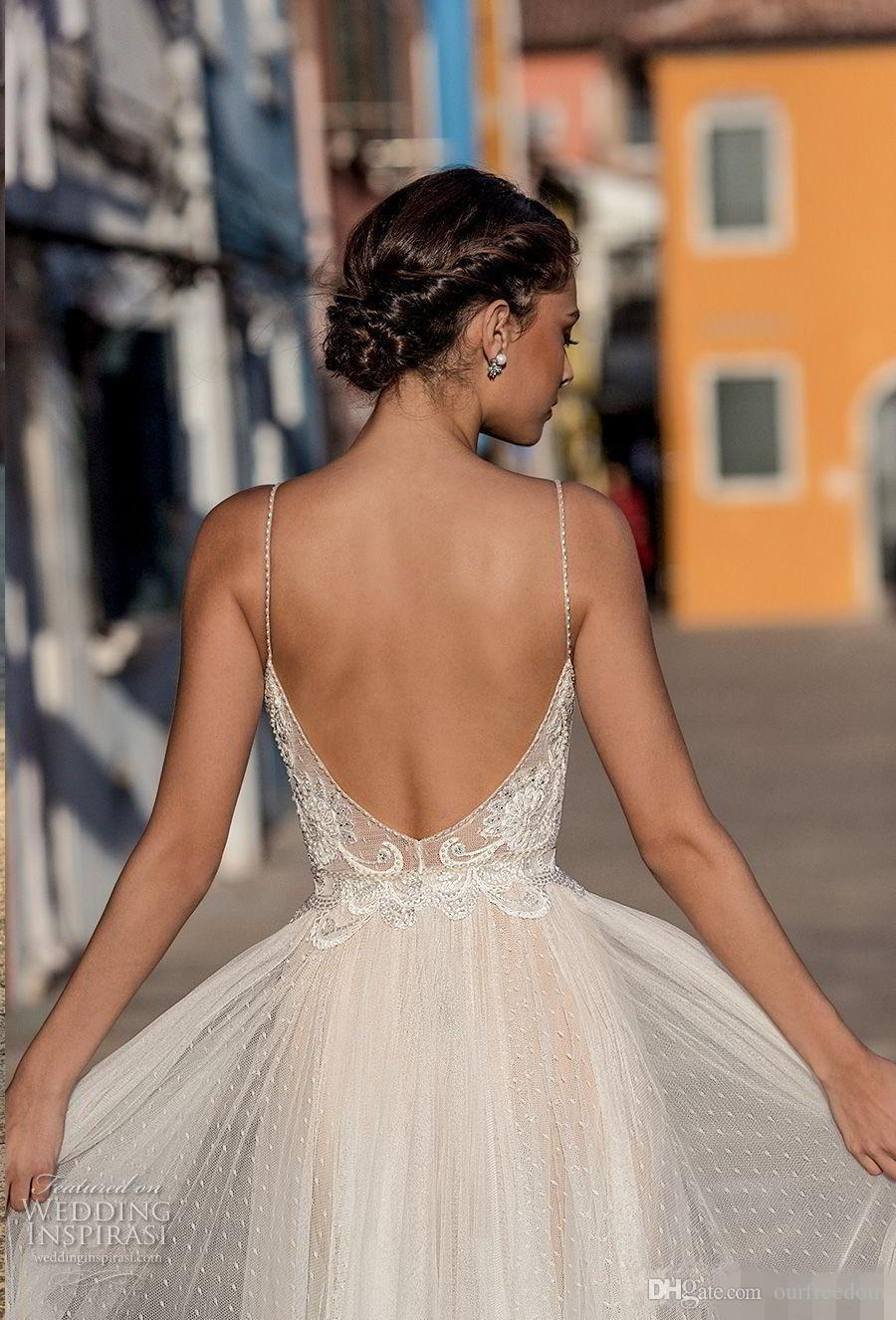 2020 New Sexy Gali Karten Garden Beach Wedding Dresses Sleeveless Spaghetti Straps Robe De Soiree Backless Long Boho Brdial Gowns