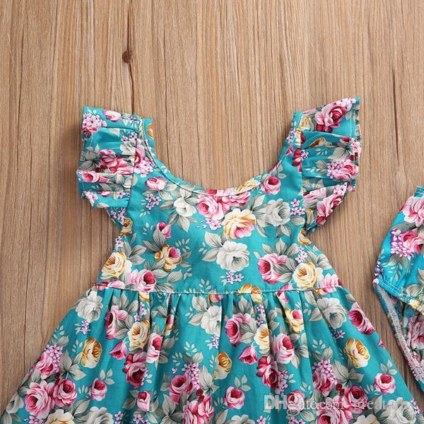 Мода лето детские девушки рюшами цветочный солнце Платье derss+краткие 2шт/комплект дети девочки наряды одежда комплект