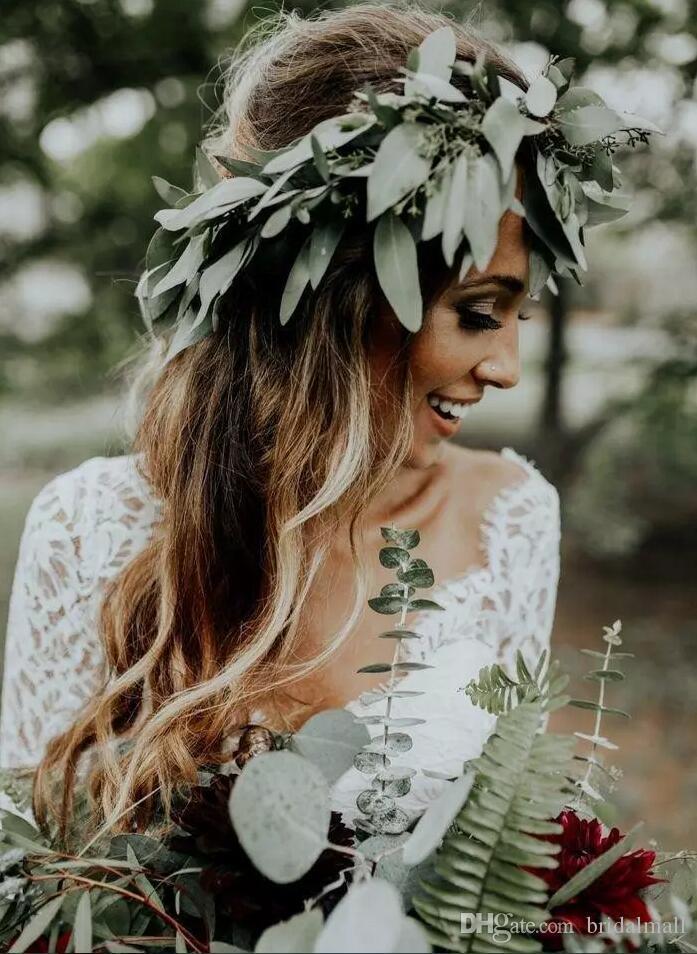 Bohème Dentelle Top 2 Pièces Robes De Mariée 3/4 Manches V Cou Boho Pays Robe De Mariée Boutons Retour Tulle Une Ligne Robes De Mariée