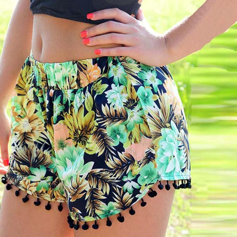 3435f47f36 Compre Pantalones Cortos Verdes Mujeres 2018 Recién Llegado De Impresión  Floral Cintura Elástica Boho Shorts De Verano Bohemia Borla Delgada Playa  Casual ...