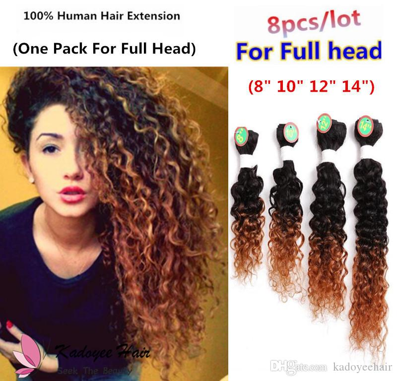 Ombre Brown Human Hair Extensions 8bundles Pack 2018 Hairstyle