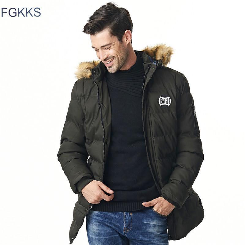 Compre FGKKS Nueva Marca Ropa Invierno Hombres Chaqueta Moda Para Hombre  Parka De Invierno Con Capucha Casual Abrigos De Los Hombres Gruesos Largos  Parkas ... 5812bf9c03c6
