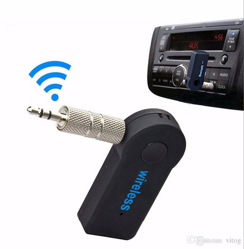Evrensel 3.5mm Bluetooth Araç Kiti A2DP Kablosuz FM Verici AUX Ses Müzik Alıcısı Adaptörü Telefon MP3 Perakende Kutusu Için Mic ile Handsfree