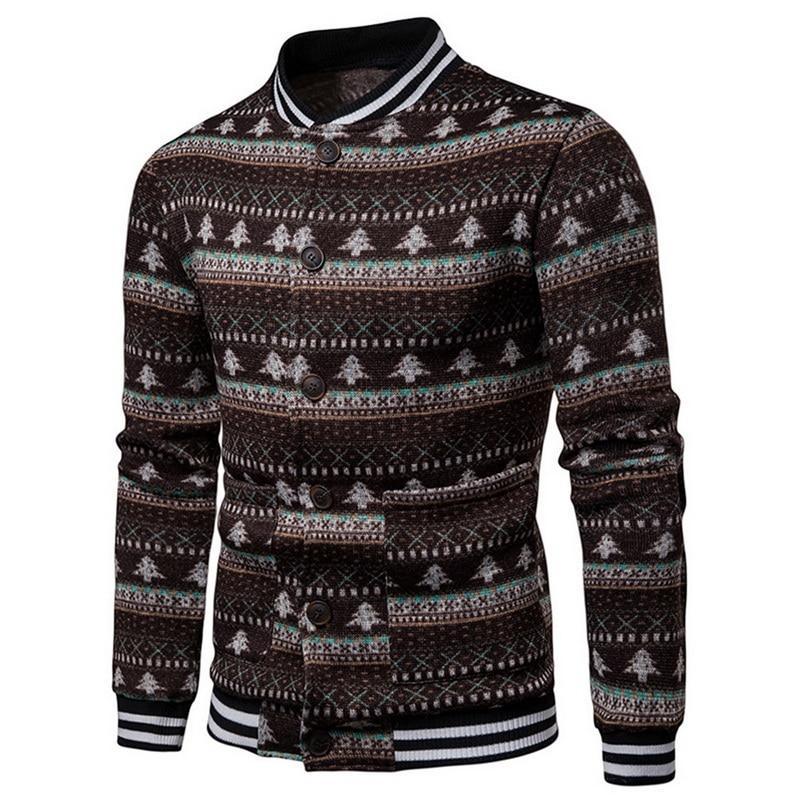Compre SHUJIN Otoño Suéter Cardigan Hombres Casual Patchwork Delgado Tejer  Para Hombre Suéteres 2018 Moda Impresión De Navidad Masculina Chaqueta De  La Capa ... 4098fc83e699