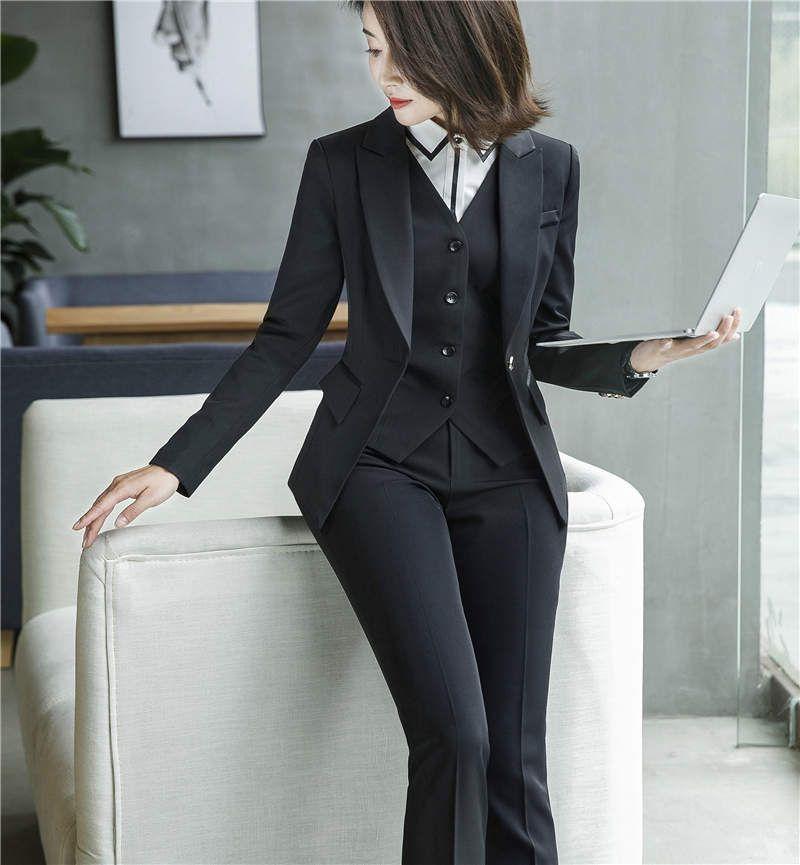 Compre 2018 Nuevos Trajes De Pantalón Para Mujer Moda Temperamento Formal  Slim Ladies Office Blazers + Chaleco + Pantalones Largos Conjunto De Tres  Piezas ... 3fadda59bd65