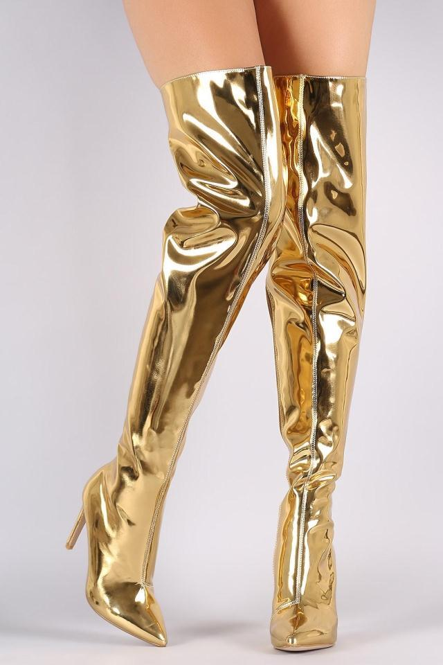 huge discount 5eaaa 1a05b metallic gold sliver mirror bota patent leather thigh high boots ladies  over the knee motorcycle high heel boots woman Promotion