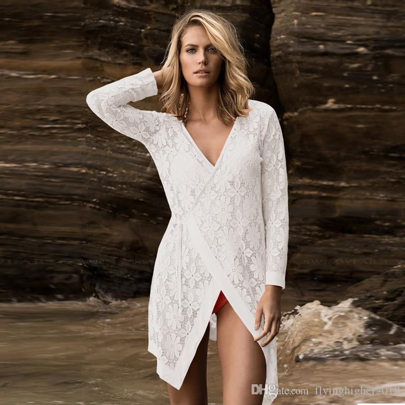 New Lace Beach Cover Up Beach Cardigan Feminino Swimsuit cover up Bathing Suit Cover Ups Pareo Beach Tunic