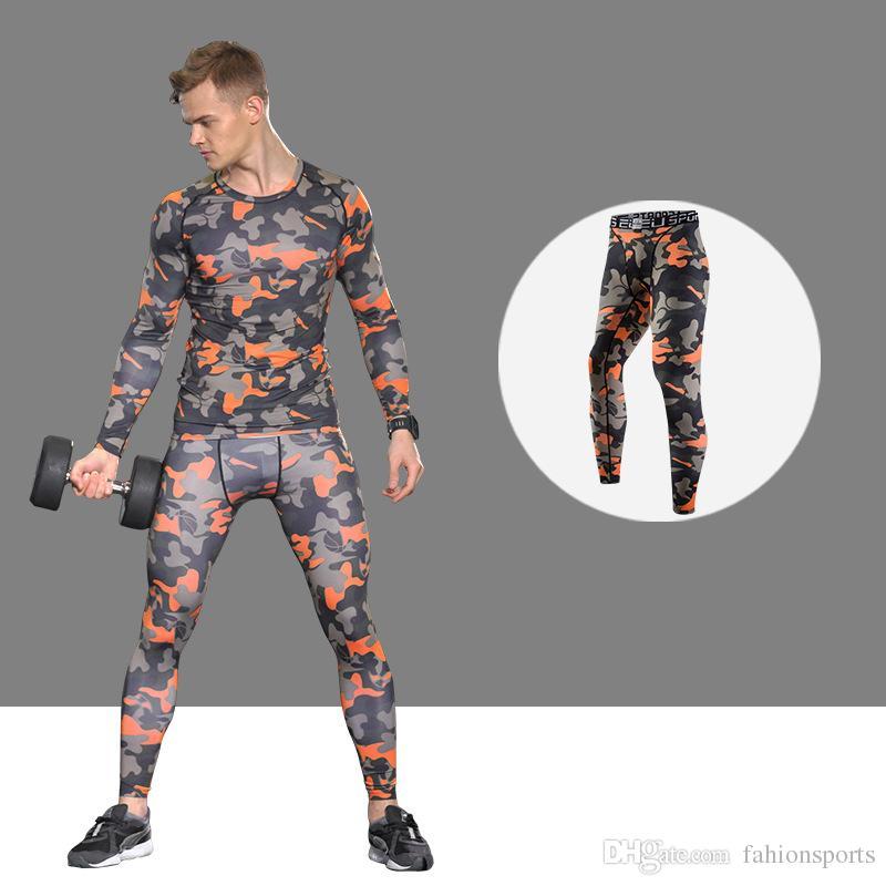 Quality Men'S Sportswear Fitness Tights Sports Leggings Tracksuit Long Shirt Pant Jiu Jitsu Running Suit Sport Suit Men
