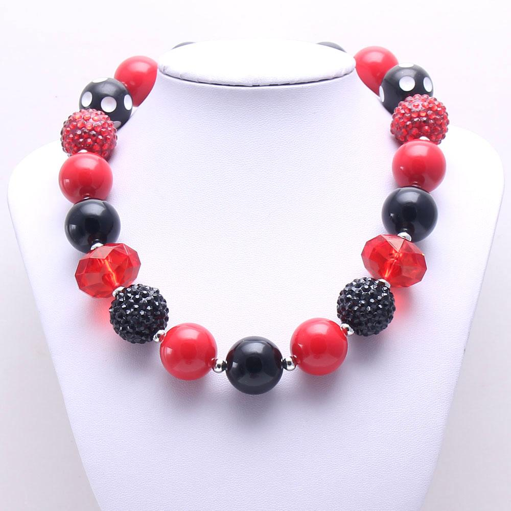 Fashion Red+Black Color Kid Chunky Necklace Newest Design Bubblegum Bead Chunky Necklace Children Jewelry For Toddler Girls