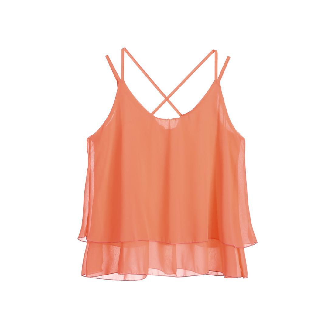 32a18221c1763c New Style Women's Summer Sleeveless Casual Chiffon Solid Vest Strappy  Ladies Back Cross Tank Tops Loose Ruffles Camis