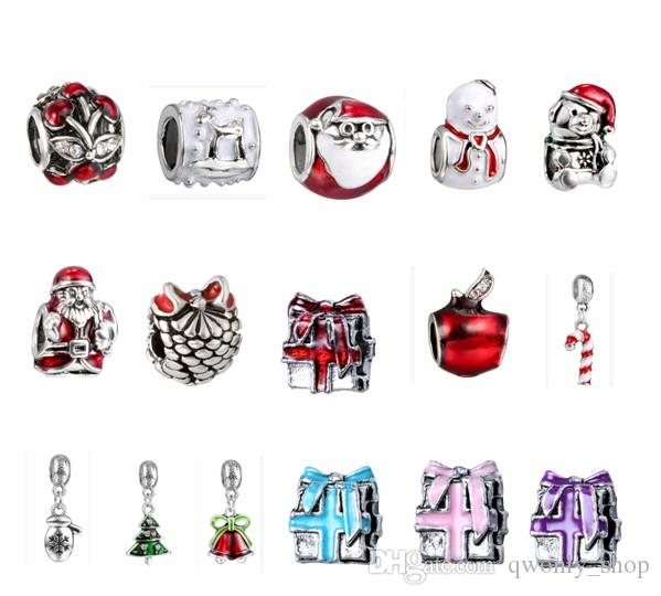 Wholesale 30pcs/lot Christmas Charm Color Silver European Charms Bead Big Hole Fit Pandora Bracelets Snake Chain Fashion DIY Jewelry