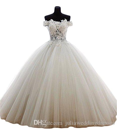 2018 Sexy Bateau Lace Ball Gown Quinceanera Dress with Appliques Tulle Plus Size Sweet 16 Dress Vestido Debutante Gowns BQ141