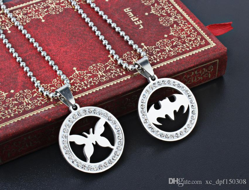 2018 Fashion Personality Bat Clover Elephant Butterfly Owl Circular Lover Pendant With Diamond Stainless Steel Necklace