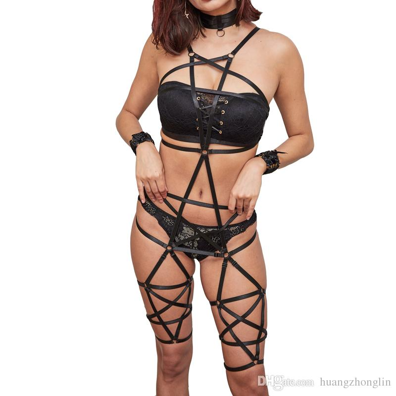 6f95fa8ed4 Womens Harness Bra Pentagram Bondage Lingerie Body Harness Black Elastic  Strappy Tops Sexy Harajuku Gothic Caged Bra