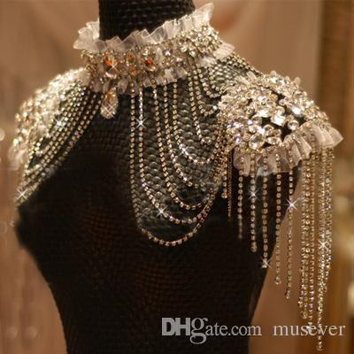 Bling Bling Bridal Bridal Catena di spalla ad alto collo gioielli strass perline perline in cristallo di pizzo appliques collana accessori da sposa
