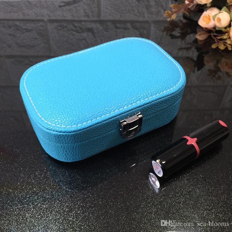 12 estilos de moda portátil de jóias de couro Caixa de Jóias Mini Princesa Travel Bag bonito Anel organizador do armazenamento da caixa de presente grátis DHL H202F