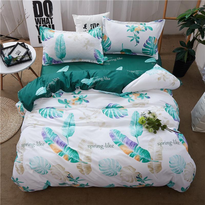 Home Textile King Queen Twin Bed Linen Girl Kid Teen Bedding Sets Green  Leaf Duvet Quilt Cover Pillowcase Bed Sheet Bedclothes Cheap Duvet Sets  California ...