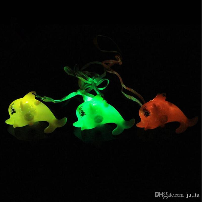 Children LED Light Up Flashing Blinking Dolphin Necklace Pendants Kids Glow Necklaces Christmas Party Decoration Gift