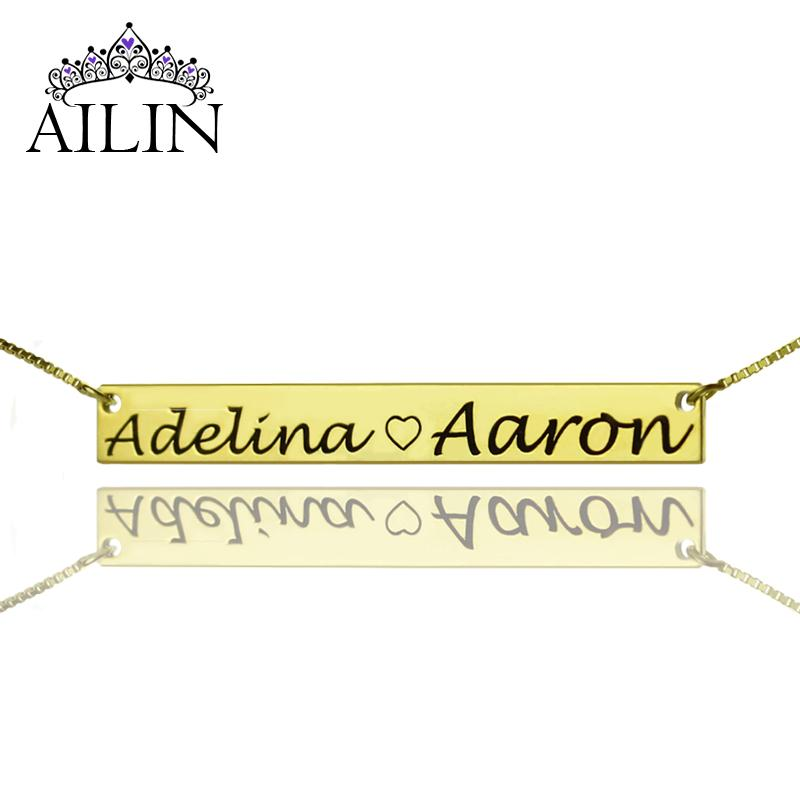 12d3910b7d742 whole saleWholesale2 Name Bar Necklace Gold Nameplate Necklace To My Sweet  Heart Couple Valentine's Day Gift