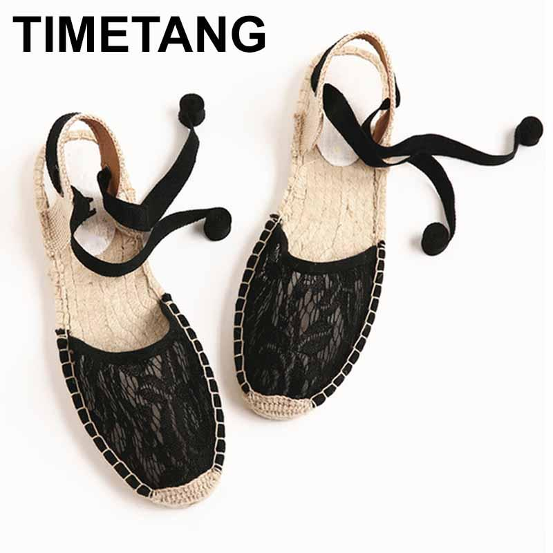 878754854 TIMETANGINS 2018 Ankle Strappy Espadrilles Women Summer Cool Mesh Lace Shoes  Woman Sole Lace Up Flats Women Sandals E254 Shoe Shop Cute Shoes From  Lemmenv