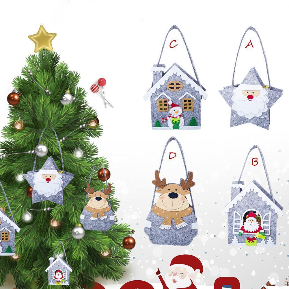 christmas fleece tote bag christmas mini storage bag innovative candy cloth elk snowman santa claus kid gift great christmas decorations handmade christmas - Christmas Fleece