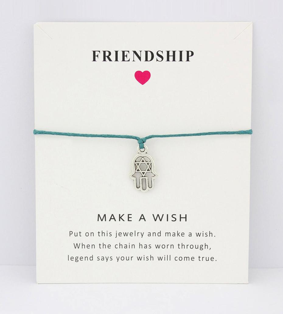 Hamsa Fatima Hand Evil Eye Yoga om OHM Peace Charm Card Bracelets Purple  Yellow Wax Cord Women Men Girl Boy Jewelry Gift