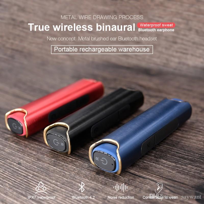Высокое качество S2 TWS Беспроводные Bluetooth Twins Wirepherphone Heapx7 Водонепроницаемый Стерео Бас Наушники Шумоудача Настройки с зарядной коробкой