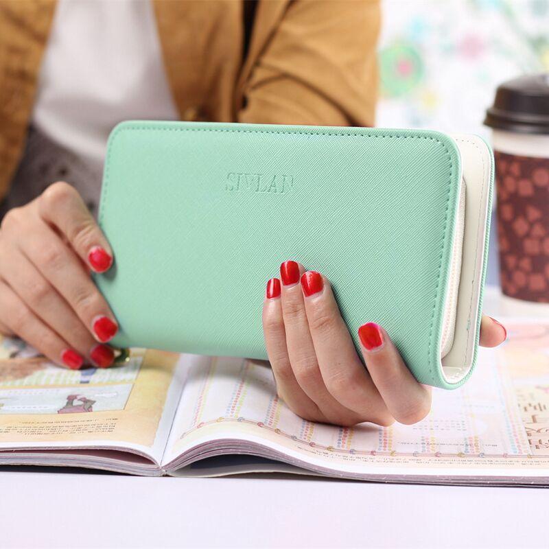 2017 do sexo feminino de Couro PU longo Zipper Carteiras Mulheres moeda Bolsas Cartões Titular saco do telefone Para Meninas moda lady Mulheres Carteira de embreagem