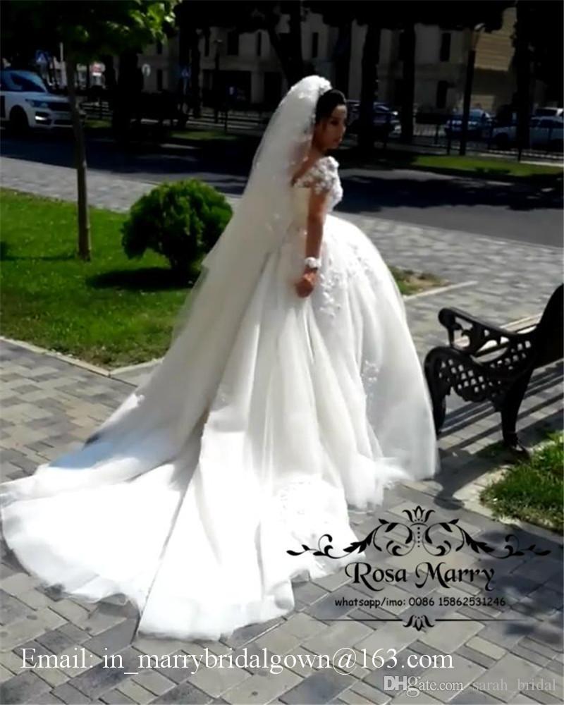 Romantische 3D-Floral Ballkleid Spitze Brautkleider 2020 Plus Size Langarm Arabisch Victorian Muslim Vestido De Novia Dubai Brautkleider
