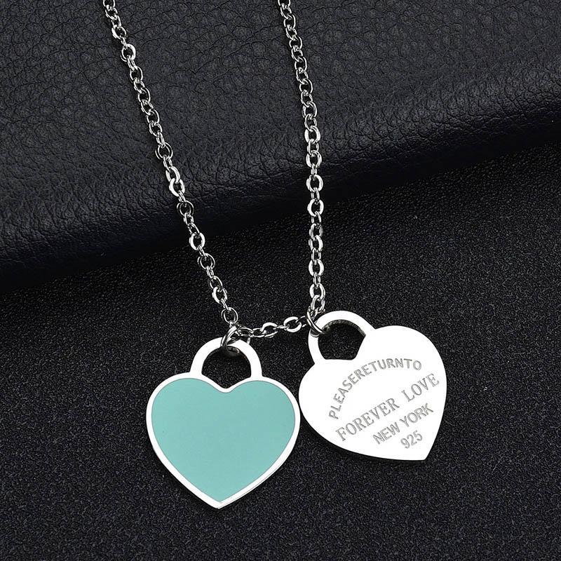 Ünlü Marka Mavi Pembe Kalp Kolye Kolye 316L Paslanmaz Çelik Kolye Kadınlar Hediye Için Lüks Takı