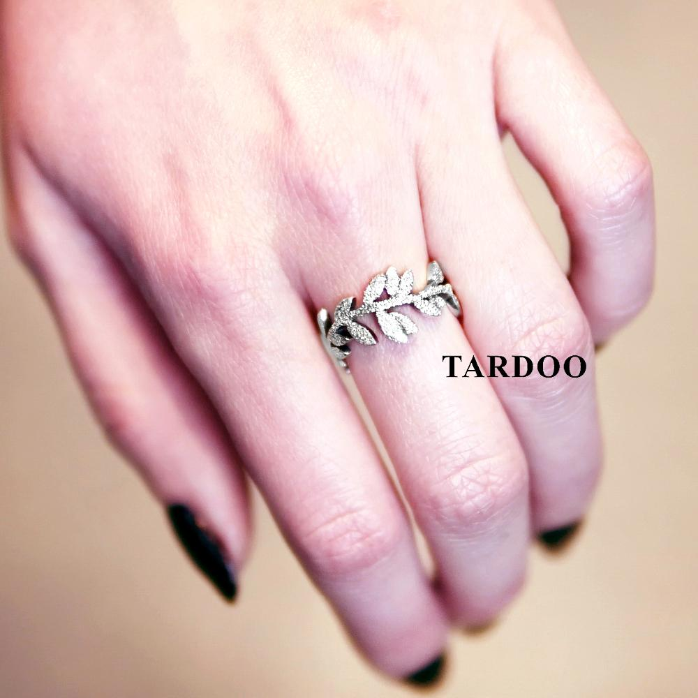2018 Tardoo Genuine 925 Sterling Silver Leaf Finger Ring Dazzling ...