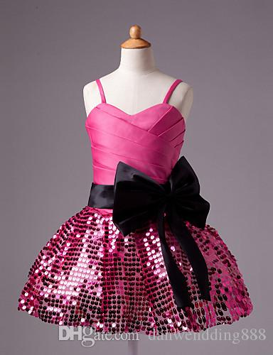 Sweet Yellow Blue Pink Sequins Short Flower Girl Dresses Princess Dresses Girl's Pageant Dresses Custom Made Size 2-6 8 10 12 14 KF315082