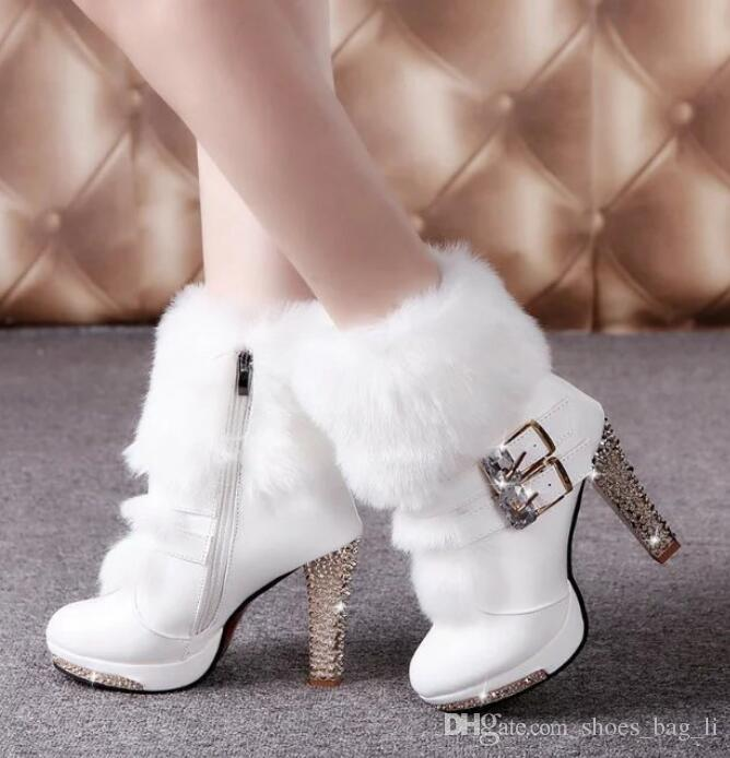 7937996eac3d 2018 Autumn And Winter New Female High Heeled Shoes Belt Buckle Hairy Boots  White Rough With Fashion Women S Snow Boots Snowboard Boots Rubber Boots  From ...