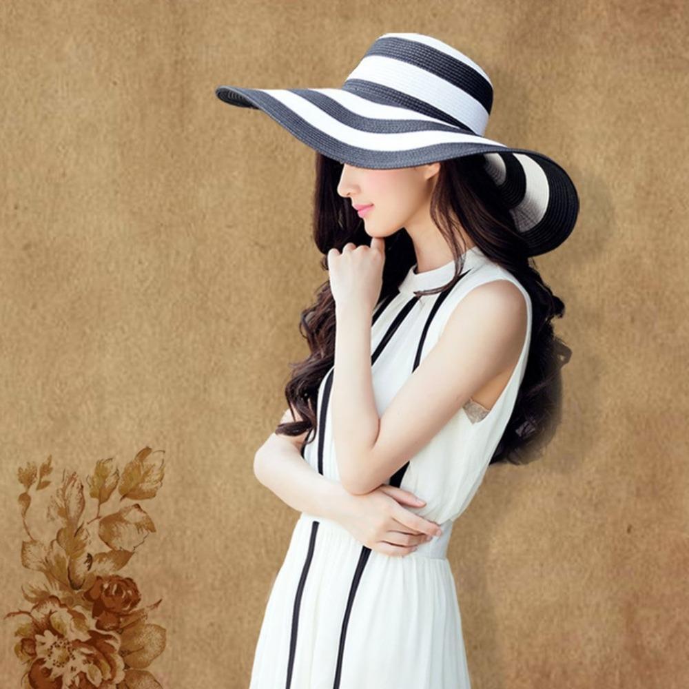 2018 Summer Wide Brim Stripe Printed Women Round Flat Top Straw Beach Hat  Trendy Design Charming Ladies Beach Sun Hat Cap Fishing Hats Funny Hats  From ... 1180b6172d6