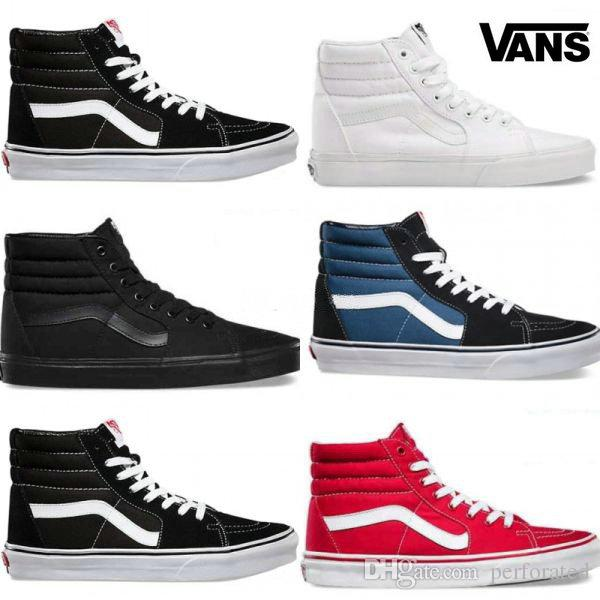 2018 2018 Vans Old Skool White Black Classic Zapatillas De Deporte Sneakers  Womens Mens Canvas Sk8 Hi Casual Canvas Slip On High Top Shoes 36 44 From  ... 39e498c47