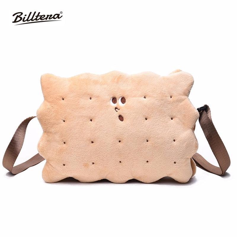 Billtera Women Biscuit Shoulder Bag Plush Zipper Girls Messenger Bag Cute  Cartoon Cookie Christmas Fashion Khaki Handbags Handbags On Sale Leather  Bags From ... 5bbb66ae0a2a0