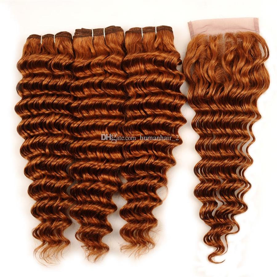 Derin Dalga İnsan Saç Örgüleri Auburn Perulu Bakire Saç 3 Demetleri Ile 4x4 Orta Kısmı Dantel Kapatma Derin Kıvırcık Dalgalı Saç